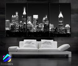 "LARGE 30""x 60"" 3 Panels Art Canvas Print Atlanta skyline light Buildings... - $116.00"