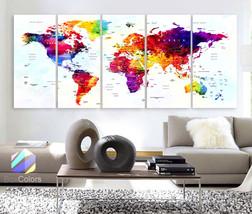 "XLARGE 30""x 70"" 5 Panels Art Canvas Print World Map Original Watercolor ... - $139.00"