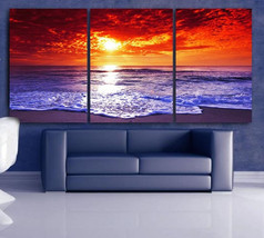 """LARGE 30""""x 60"""" 3 Panels Art Canvas Print Beach Sunset Wall (Included fra... - $116.00"""