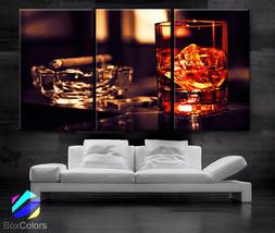 "LARGE 30""x 60"" 3 Panels Art Canvas Print Beautiful Glass whisky ice ciga... - $119.00"