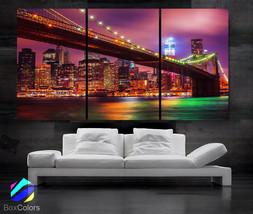 "LARGE 30""x 60"" 3 Panels Art Canvas Print Beautiful Brooklyn bridge New Y... - $119.00"