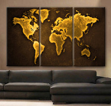 "Large 30x60 3 Panels framed 1.5"" depth Art Canvas Print  World Map Color... - $116.00"