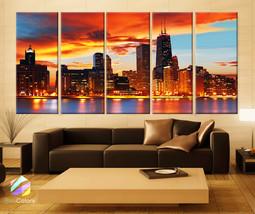 "XLARGE 30""x 70"" 5 Panels Art Canvas Print Chicago Skyline lCity sunset F... - $139.00"