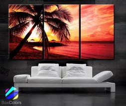"""LARGE 30""""x 60"""" 3 Panels Art Canvas Print beautiful Palm tree Beach Sunse... - $119.00"""