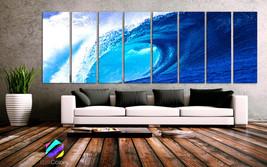 "XXLARGE 30""x 96"" 8 Panels Art Canvas Print beautiful Beach Ocean Sea Wav... - $229.00"