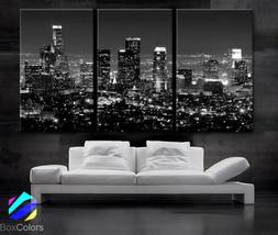 "LARGE 30""x 60"" 3 Panels Art Canvas Print beautiful Los Angeles CA skylin... - $116.00"
