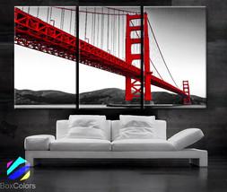"LARGE 30""x 60"" 3 Panels Art Canvas Print Golden Gate Bridge San Francisc... - $116.00"