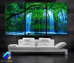 "LARGE 30""x 60"" 3 Panels Art Canvas Print beautiful Waterfall Trees Green... - $116.00"