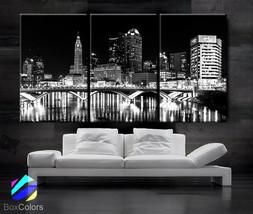 "LARGE 30""x 60"" 3 Panels Art Canvas Print Columbus Ohio Skyline City Down... - $116.00"