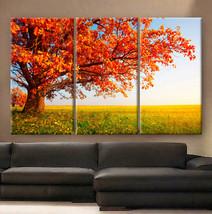 "Large 30x60  3 Panels framed 1.5"" depth Art Canvas Print Red tree leaves... - $116.00"