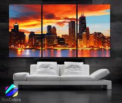 "LARGE 30""x 60"" 3 Panels Art Canvas Print Beautiful Chicago skyline Sunse... - $116.00"