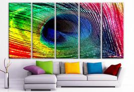 "XLARGE 30""x 70"" 5 Panels Art Canvas Print Peacock Feather colors blue gr... - $139.00"