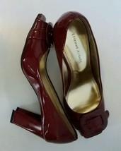 Etienne Aigner Dark Red Patent  Buckle Heels Op... - $35.22