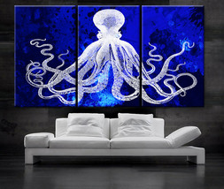 "LARGE 30""x 60"" 3 Panels Art Canvas Print Octopus watercolor blue backgro... - $116.00"