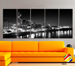 "XLARGE 30""x70"" 5 Panels Art Canvas Print Nashville City Skyline Downtown... - $139.00"