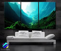 """LARGE 30""""x 60"""" 3 Panels Art Canvas Print Beautiful Nature mountain sunse... - $116.00"""