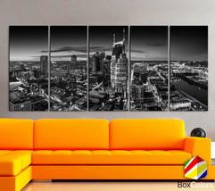 "XLARGE 30""x70"" 5 Panels Art Canvas Print Nashville Skyline Downtown nigh... - $139.00"