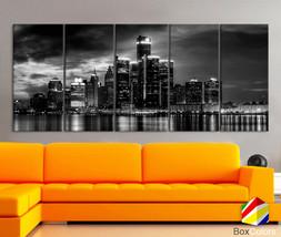 "XLARGE 30""x70"" 5 Panels Art Canvas Print Ditroit light Skyline Downtown ... - $139.00"
