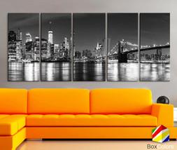 "XLARGE 30""x70"" 5 Panels Art Canvas Print Manhattan Skyline bridge night ... - $139.00"