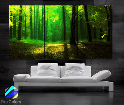 """LARGE 30""""x 60"""" 3 Panels Art Canvas Print beautiful Trees forest Green Ye... - $119.00"""