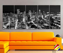 "XLARGE 30""x70"" 5Panels Art Canvas Print Seattle Washington night Downtow... - $139.00"