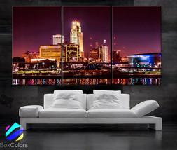 "LARGE 30""x 60"" 3 Panels Art Canvas Print night Omaha Nebraska skyline City - $116.00"