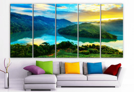 "XLARGE 30""x 70"" 5 Panels Art Canvas Print beautiful mountains sea sunris... - $139.00"