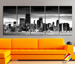 "XLARGE 30""x 70"" 5 Panels Art Canvas Print Chicago Skyline night Downtown... - $139.00"