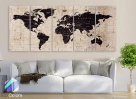 "XLARGE 30""x70"" 5Panels Art Canvas Texture Print Map World Cities Push Pi... - $139.00"