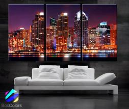 "LARGE 30""x60"" 3 Panels Art Canvas Print San Diego CA city skyline light ... - $116.00"