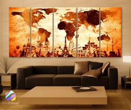 "XLARGE 30""x 70"" 5 Panels Art Canvas Print Original Wonders of the world ... - $139.00"