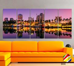 "XLARGE 30""x 70"" 5 Panels Art Canvas Print Long Beach, California Skyline... - $139.00"