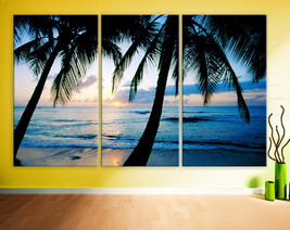 "Large 30x60  3 Panels framed 1.5"" depth Art Canvas Print sunset Beach oc... - $119.00"