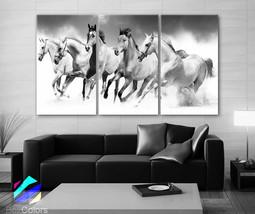 "LARGE 30""x 60"" 3 Panels Art Canvas Print beautiful Horses White animals ... - $116.00"