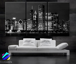 "LARGE 30""x 60"" 3 Panels Art Canvas Print Beautiful Chicago skyline at ni... - $116.00"