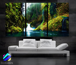 """LARGE 30""""x 60"""" 3 Panels Art Canvas Print beautiful Waterfall in forest G... - $116.00"""