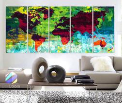 "XLARGE 30""x70"" 5Panels Art Canvas Print Map Wonders of the world decor h... - $139.00"