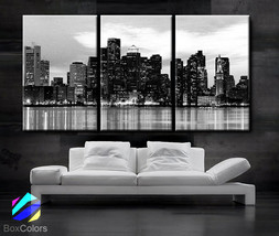 "LARGE 30""x 60"" 3 Panels Art Canvas Print Beautiful Boston skyline Sunset... - $116.00"