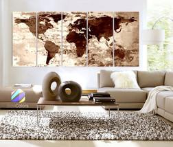 "XLARGE 30""x 70"" 5 Panels Art Canvas Print Watercolor Texture Map Old bri... - $139.00"