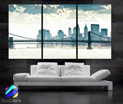 "LARGE 30""x60"" 3 Panels Art Canvas Print Beautiful manhattan bridge New Y... - $116.00"