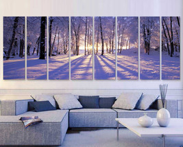 "XXLARGE 30""x 96"" 8 Panels Art Canvas Print beautiful Sunset Winter seaso... - $229.00"