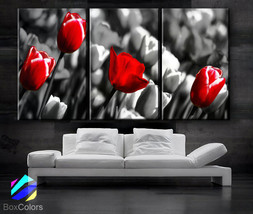 """LARGE 30""""x 60"""" 3 Panels Art Canvas Print  Red Rose background Black whit... - $119.00"""