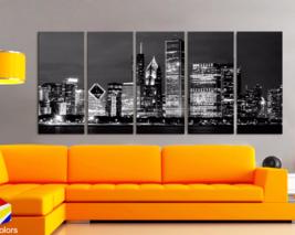 "XLARGE 30""x 70"" 5 Panels Art Canvas Print beautiful Chicago Skyline nigh... - $139.00"