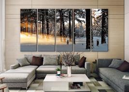 "LARGE 30""x 60"" 5 Panels Art Canvas Print Winter light rays nature tree s... - $129.00"