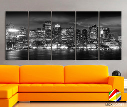 "XLARGE 30""x70"" 5 Panels Art Canvas Print Boston light Skyline bridge nig... - $139.00"