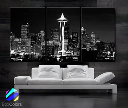 "LARGE 30""x 60"" 3 Panels Art Canvas Print Seattle Washington Skyline nigh... - $116.00"