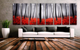 "XXLARGE 30""x 96"" 8 Panels Art anvas Print beautiful Trees Forest Foggy A... - $229.00"