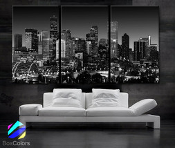 "LARGE 30""x 60"" 3 Panels Art Canvas Print Beautiful Denver Colorado skyli... - $116.00"