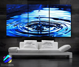 "LARGE 30""x 60"" 3 Panels Art Canvas Print Beautiful Water drop Blue Wall ... - $116.00"
