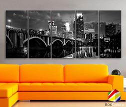 "XLARGE 30""x70"" 5 Panels Art Canvas Print Minnesota Skyline bridge City R... - $139.00"
